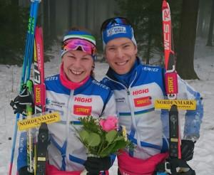 Salla Koskela (vas.) ja Janne Häkkinen onnistuivat mainiosti maailmancupin sprinttiviestissä. Kuva: Eivind Tonna.