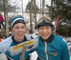 Sari Vääränen (vas) ja Mirka Suutari olivat naisten mestarit.